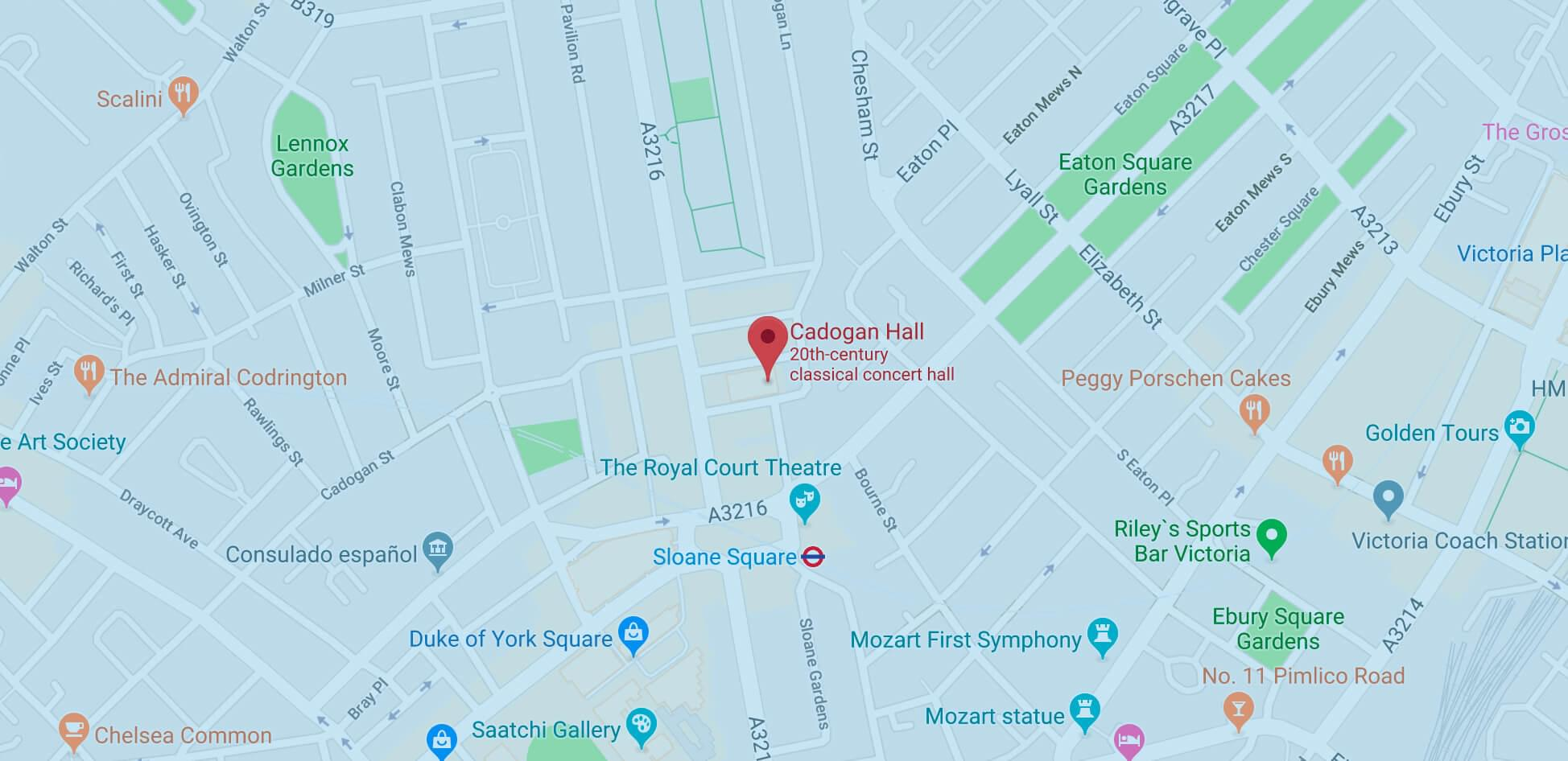 Cadogan Hall's map view